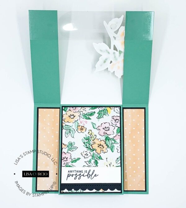 First layered open view of a spanner fun fold card