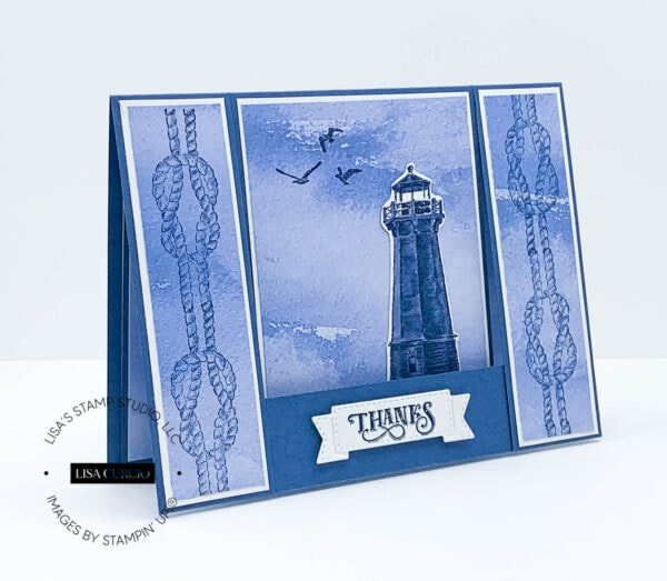 Angled front view of a lighthouse fun fold card