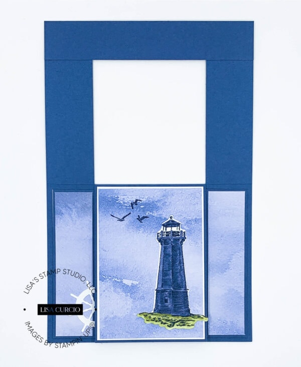 First layer open view of a fun fold card with a lighthouse