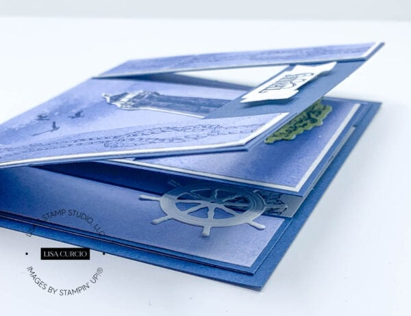 Angled side view of a spanner card nautical theme