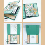 Pinterest image of four views of a spanner fun fold card